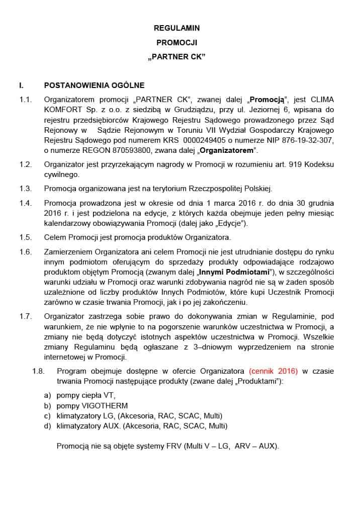 regulamin promocji ck - Firma