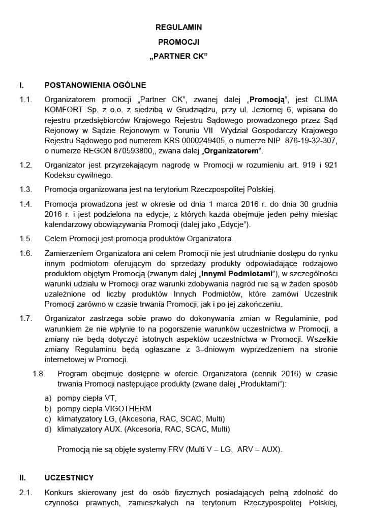 regulamin promocji ck - Pracownik